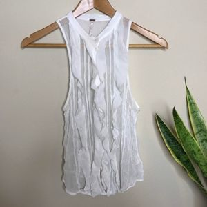 🔥SALE Free People Button down ruffle Tank Top